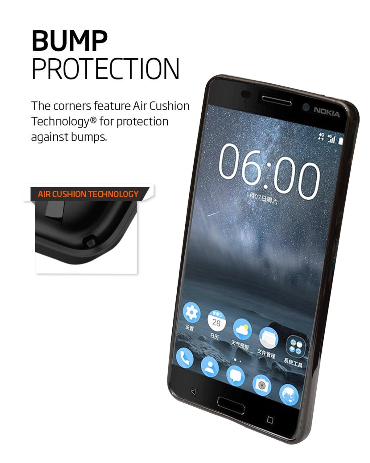 Nokia 3 Ultra Thin Perfect Fitting Texture Back Case Cover (Black)