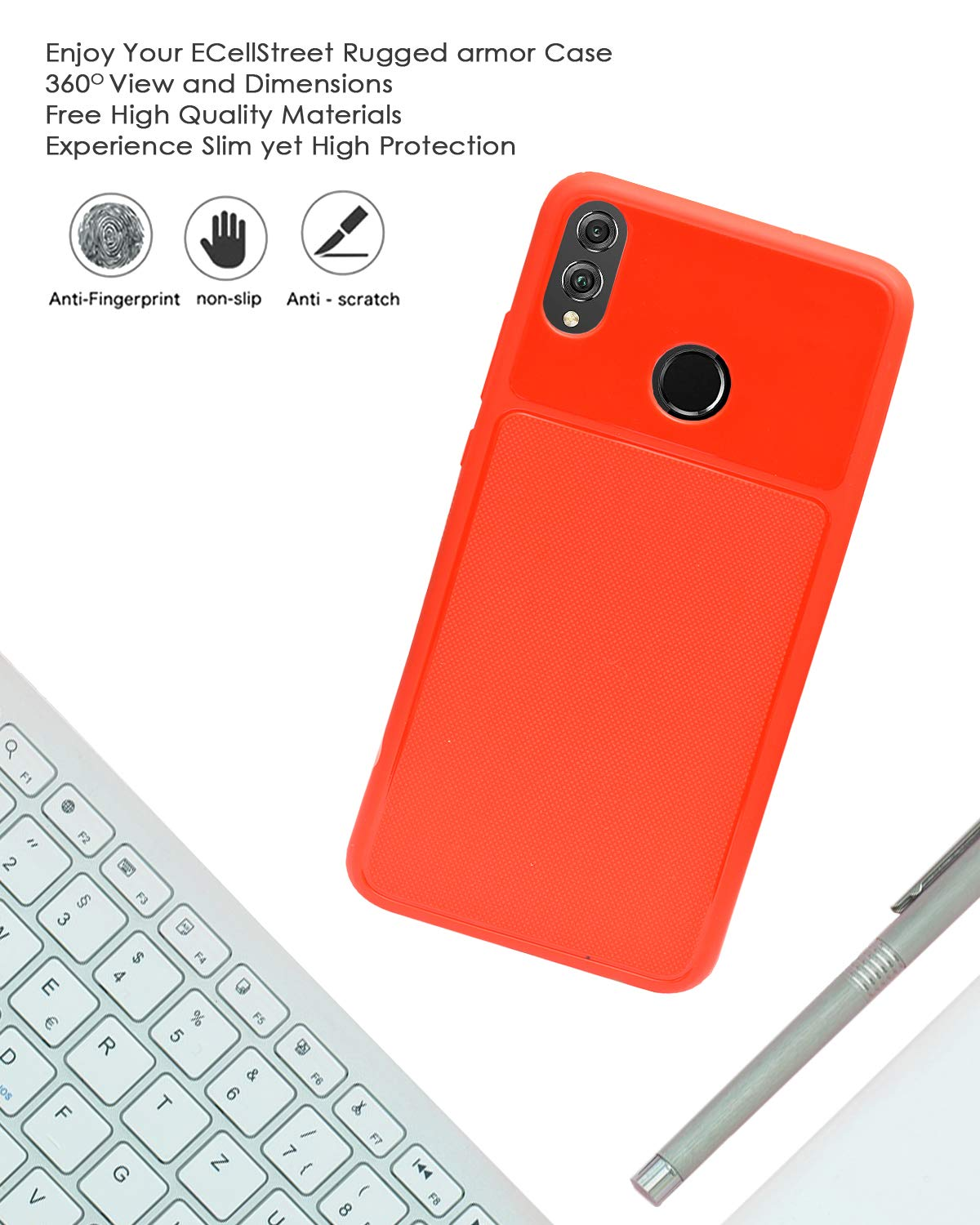 Huawei Honor 8X Back Case Cover | Flexible Shockproof TPU | Texture Case - Red