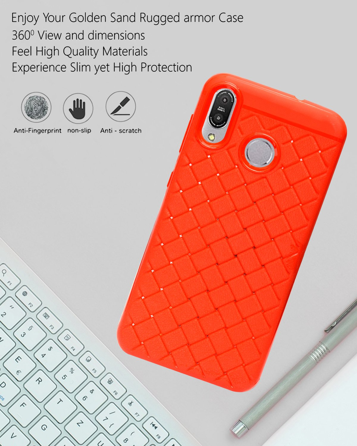 Asus Zenfone Max (M1) ZB555KL Texture Pattern Soft Cusion Padding Case Back Cover - Red