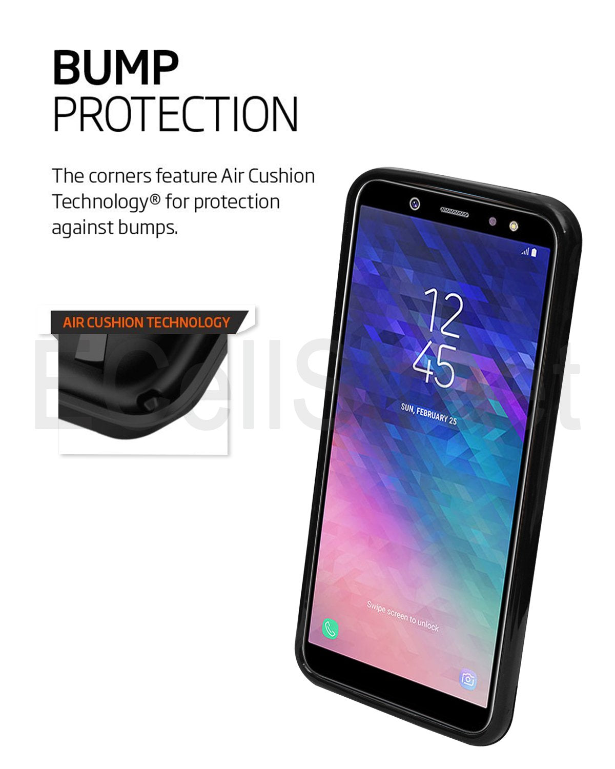 Samsung Galaxy A6 Silicon Soft Back Cover Protective Case (Black)