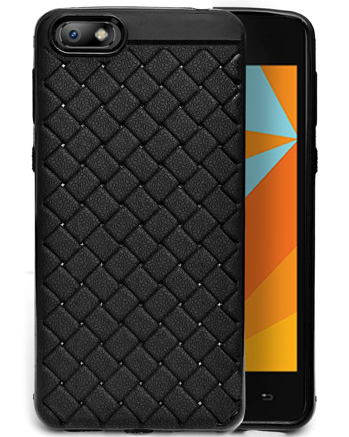 Micromax Bharat 5 Texture Pattern Soft Cusion Padding Case Back Cover - Black