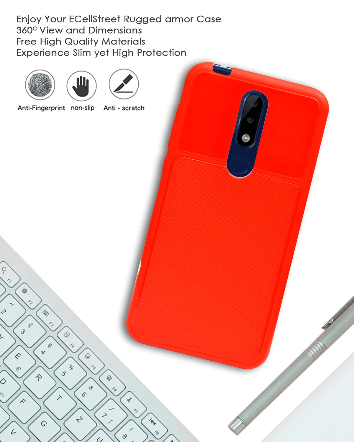 Nokia 5.1 Plus Back Case Cover | Flexible Shockproof TPU | Texture Case - Red