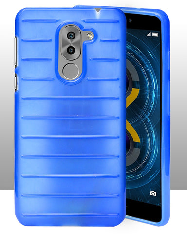 Huawei Honor 6X Protection Brick Line Soft Back Cover - Blue