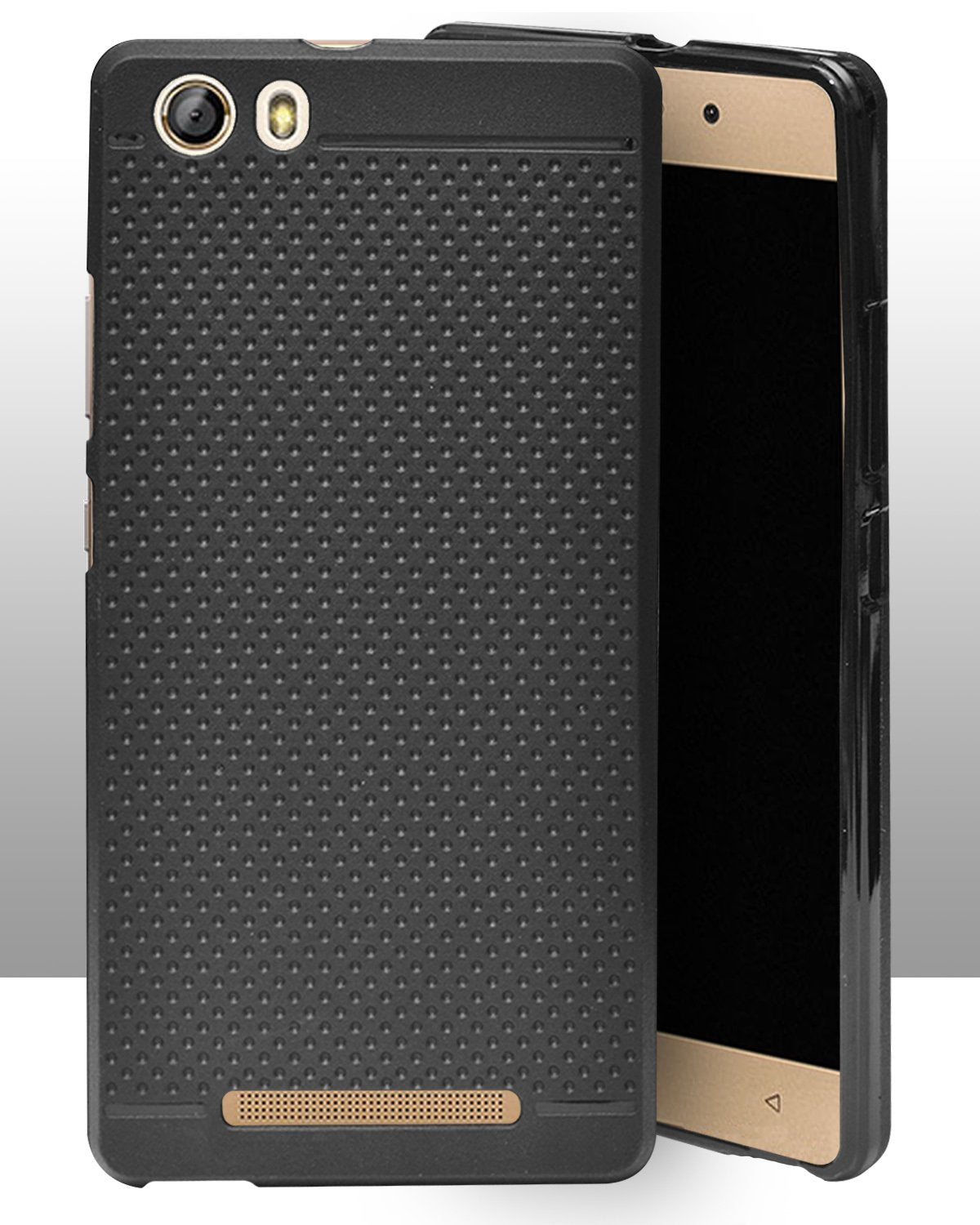 Gionee Marathon M5 lite Dotted Rubberised Soft Back Case Cover (Black)