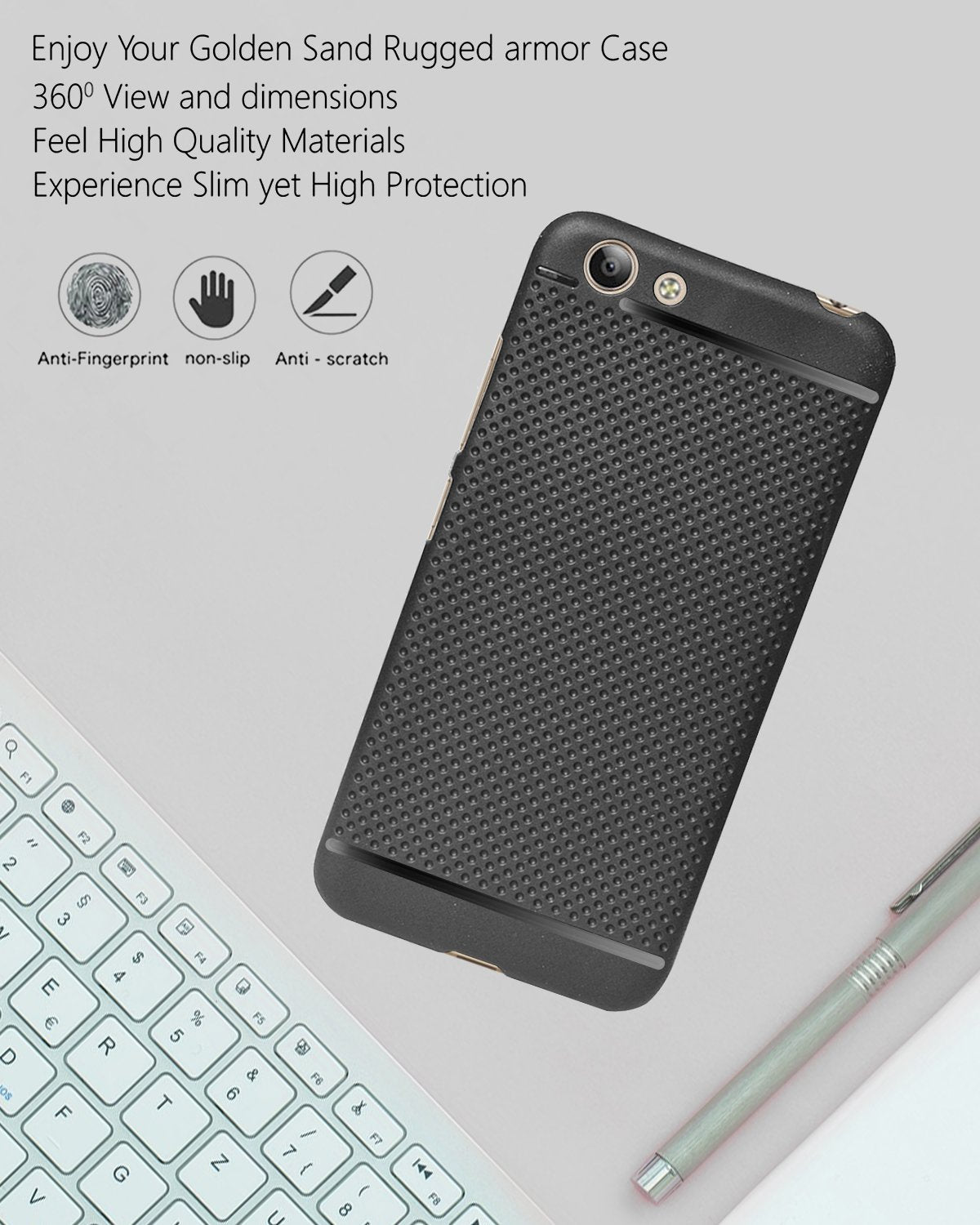 Vivo Y53 Dotted Rubberised Soft Back Case Cover (Black)