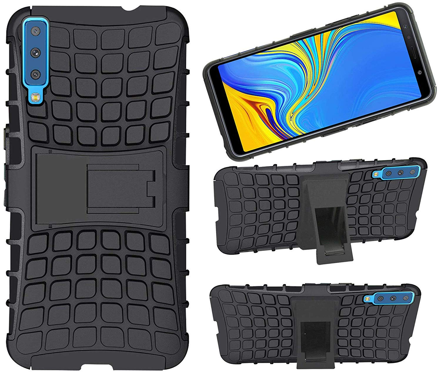 ECellStreet Back Cover Case Dual Layer Rugged and Tough Defender Kick Stand with Built in Stand for Samsung Galaxy A7-18