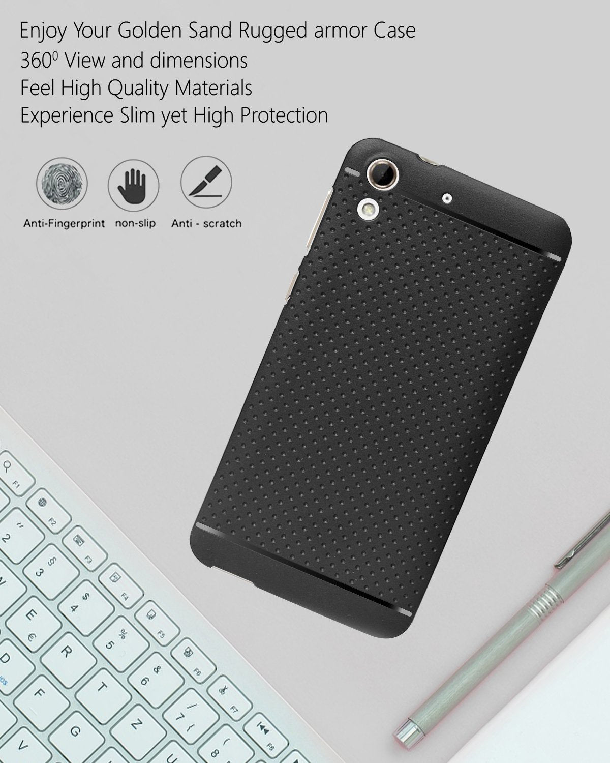 HTC Desire 728 Dotted Rubberised Soft Back Case Cover (Black)
