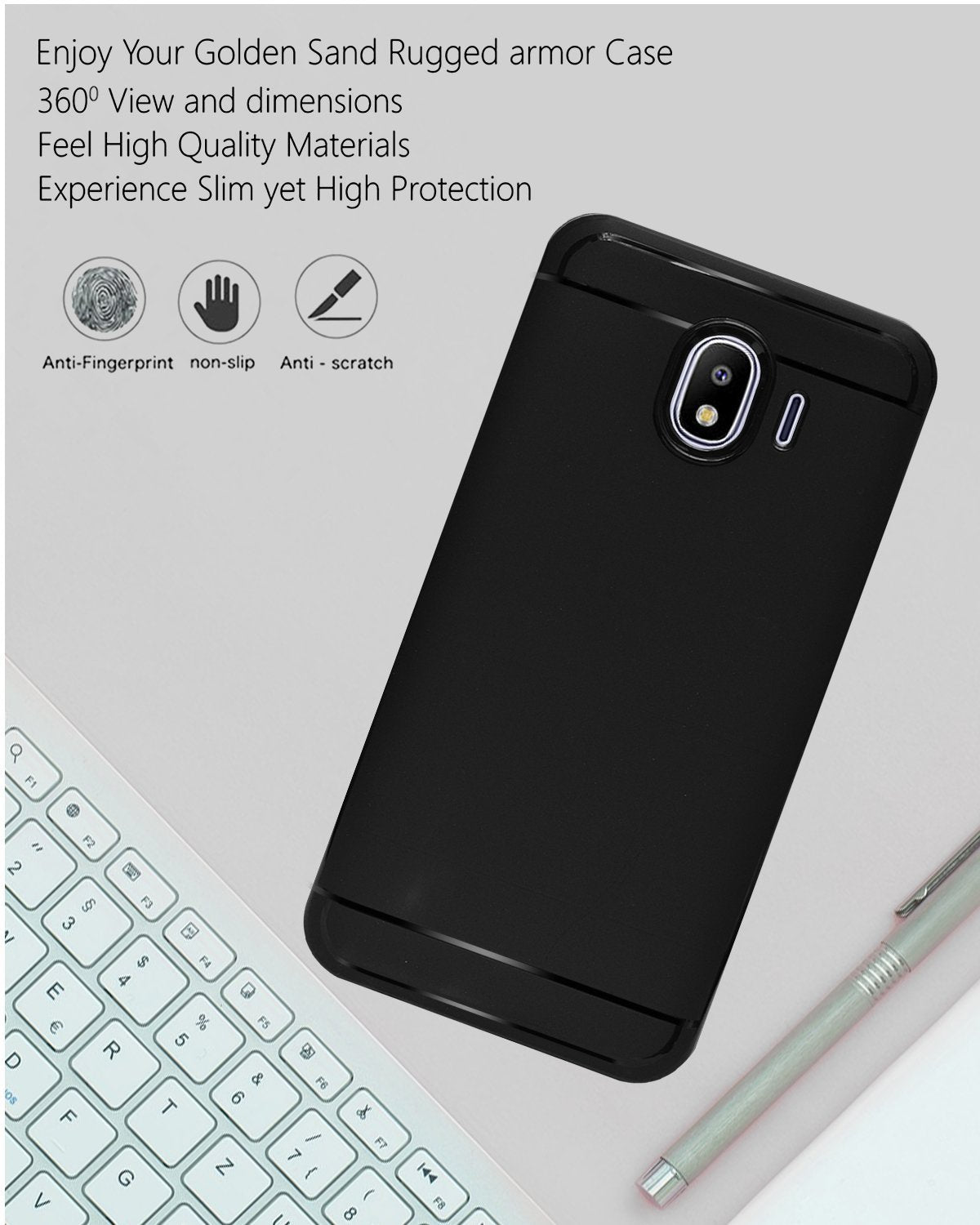 Samsung Galaxy J4 Silicon Soft Back Cover Protective Case (Black)