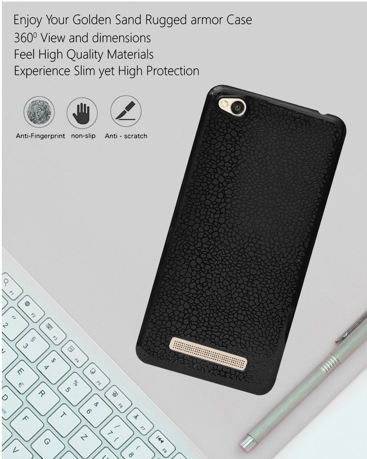 Xiaomi Redmi 4a Ultra Thin Perfect Fitting Texture Back Case Cover (Black)