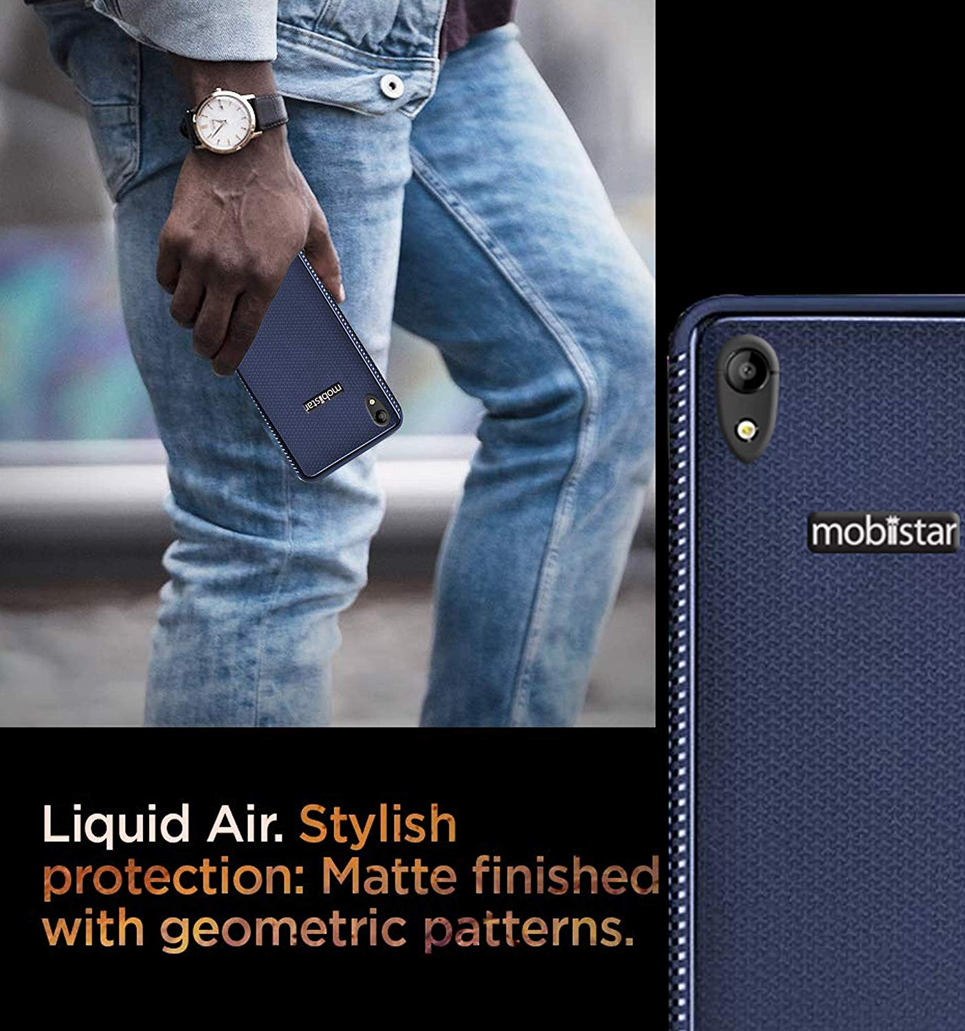 Mobiistar C1 Shine Grip Series Flexible TPU Soft Protective Back Case Cover - Blue
