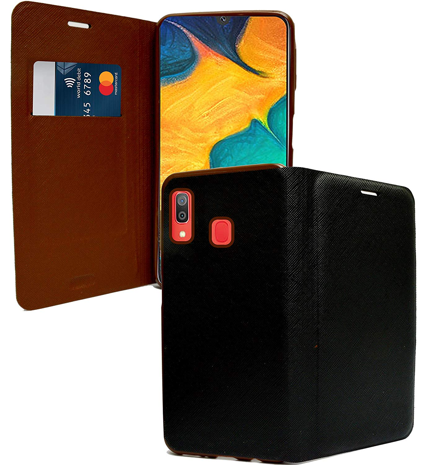 Samsung Galaxy A30 Textured Flip Cover Case with Card Holder - Black