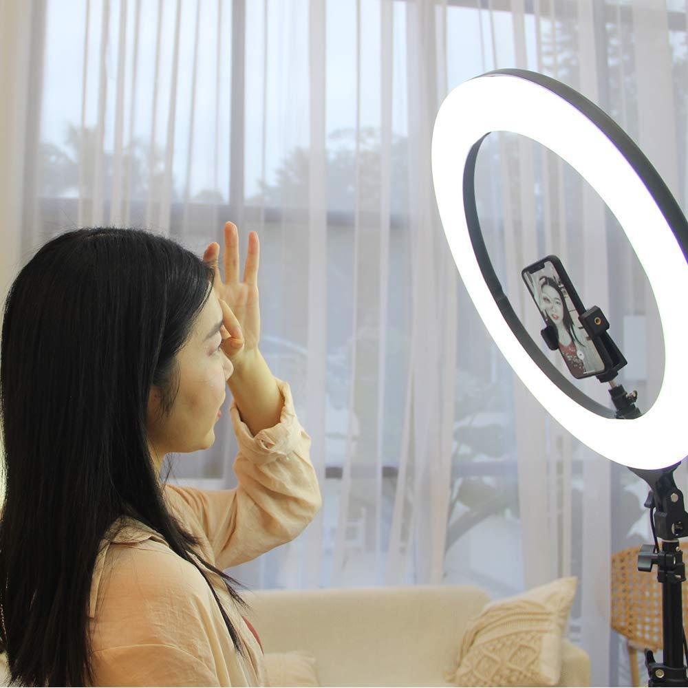 "14 Inches Big LED Ring Light for Camera, Phone tiktok YouTube Video Shooting and Makeup, Stand and Light (14"" inchs Light + Stand)"