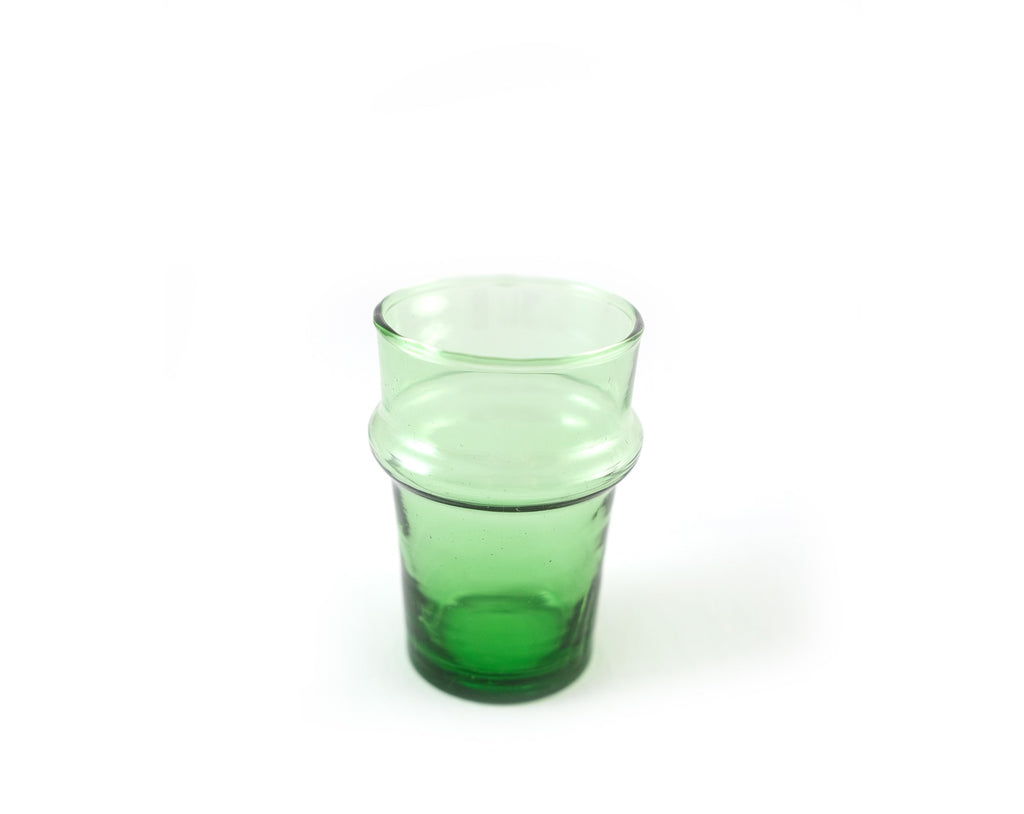 Moroccan Recycled Hand-Blown Beldi Glasses / Green