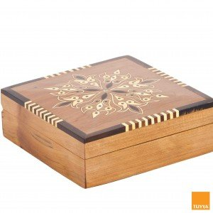 THUYA WOODBOX ARABESQUE SQUARE MARQUETERY PATTERN