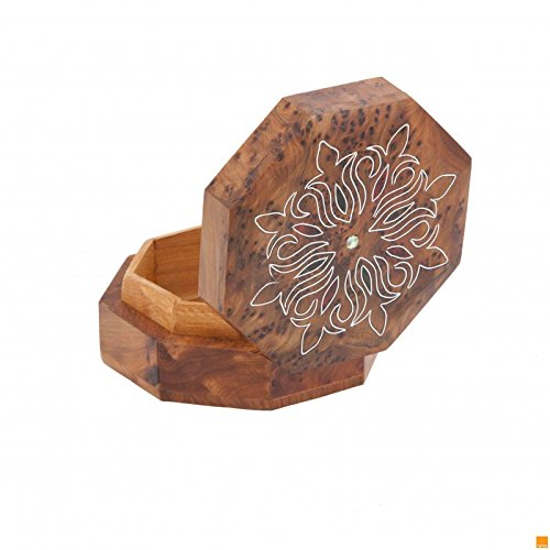 THUYA WOODBOX ARABESQUE OCTAGONAL SIMPLE INLAYED MARQUETERY PATTERN