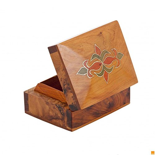 THUYA WOODBOX FLORAL RECTANGULAR SIMPLE MARQUETERY PAINTED PATTERN