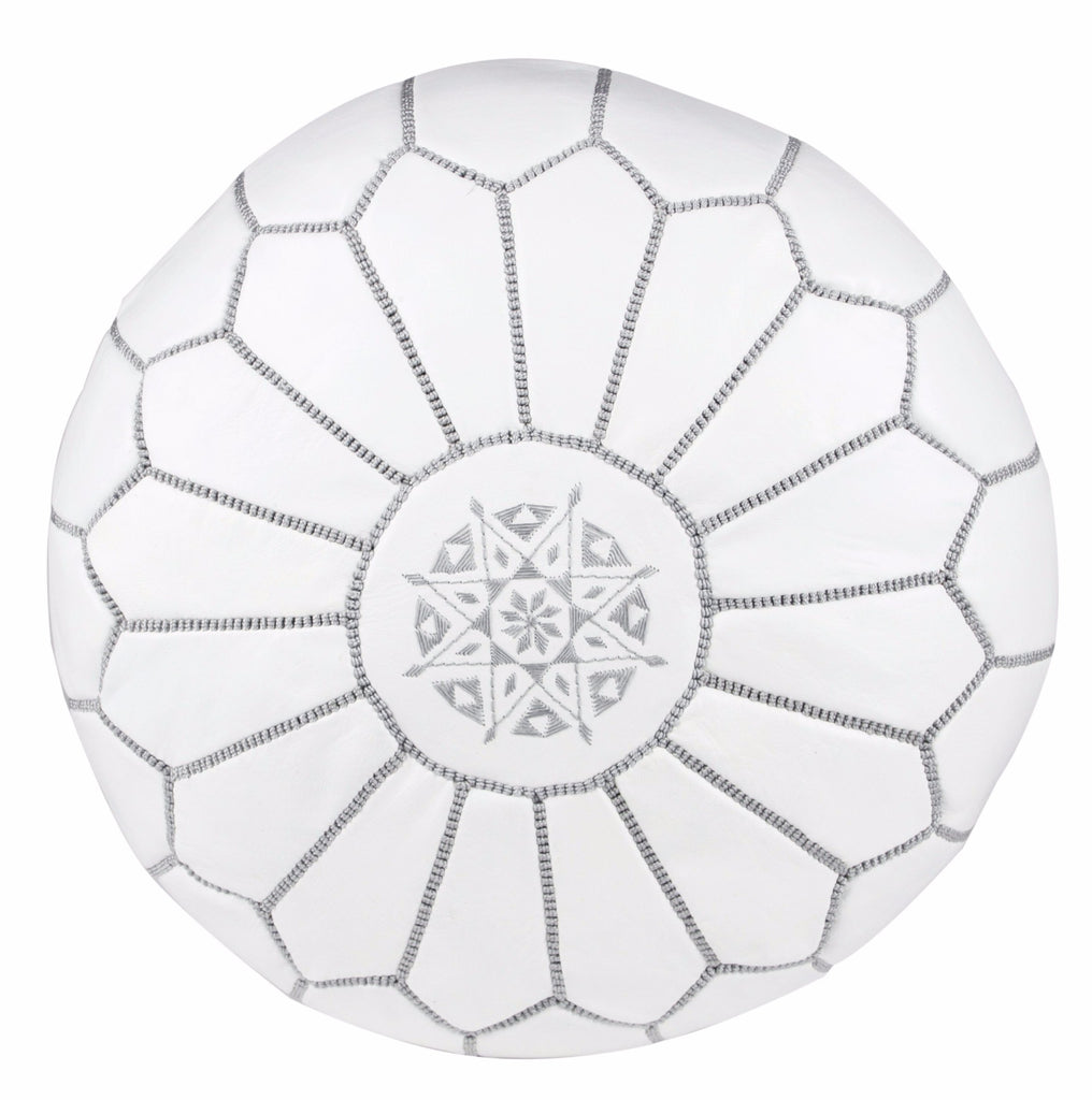Embroidered Leather Pouf, Gray on White