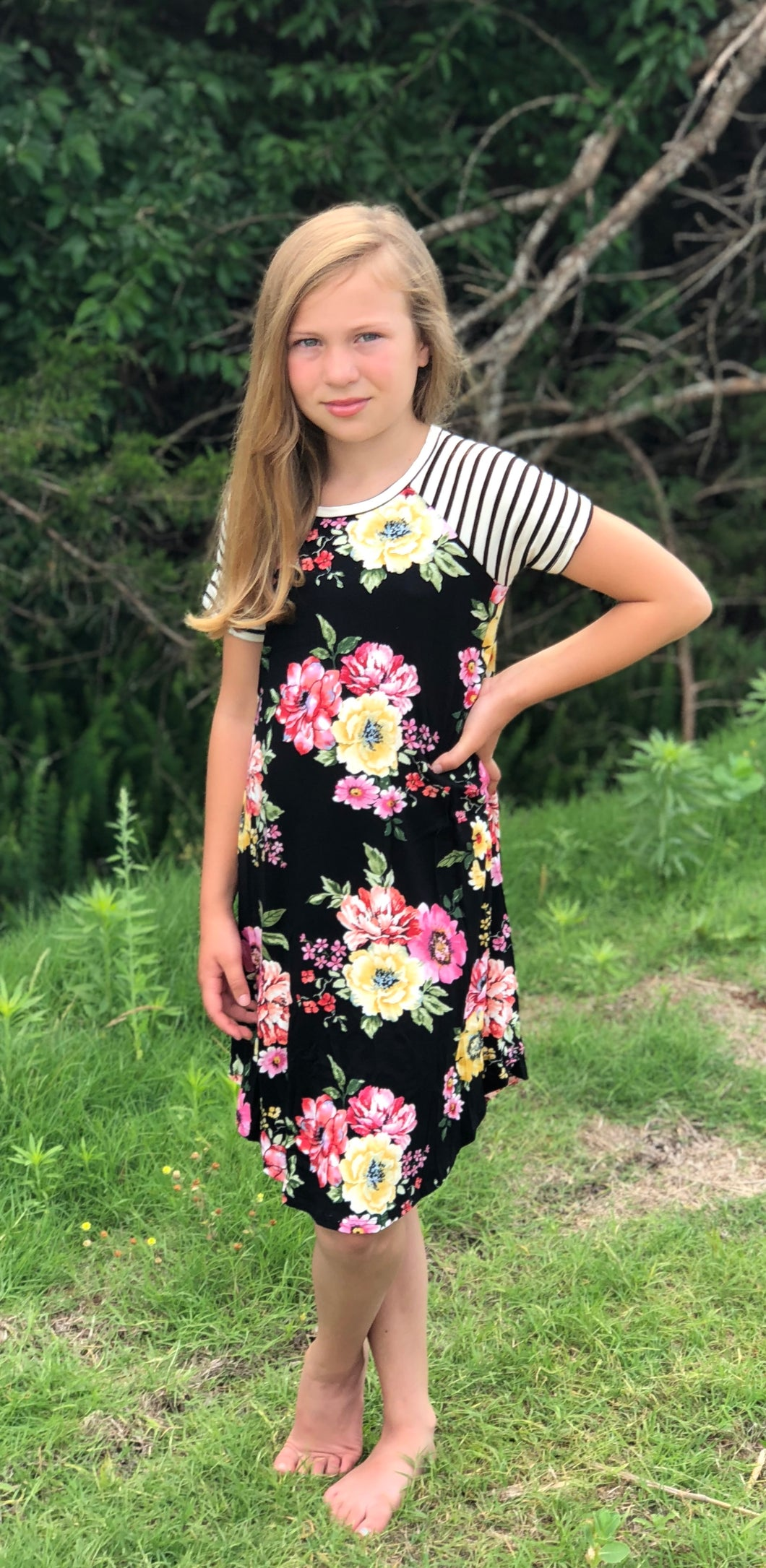 OLIVIA Short Sleeve Floral Dress