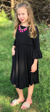 Preteen Black Bell Sleeve Dress