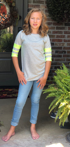 Heather Grey and Lime Top