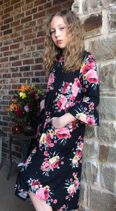 Black Floral Bell Sleeve