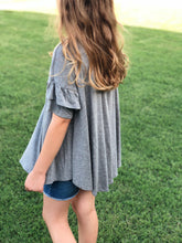 Grey Ruffle Sleeve Too