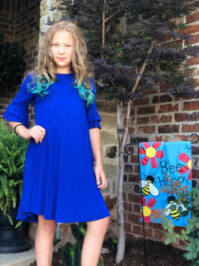 Royal Blue Midi with Ruffle Sleeve