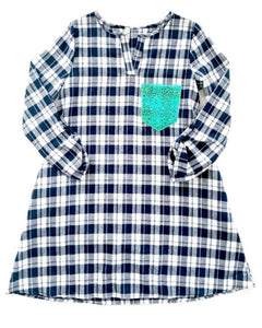 Flannel Dress with Turquoise Sequin Pocket