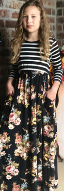 Black Floral Stripe Dress