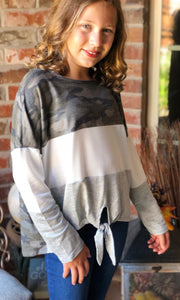 Tween Camouflage Color Block Top