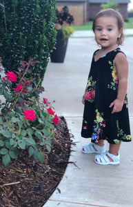 Toddler Floral and Bird Print Dress