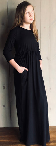Black Maxi Dress with 3/4 Length Sleeves