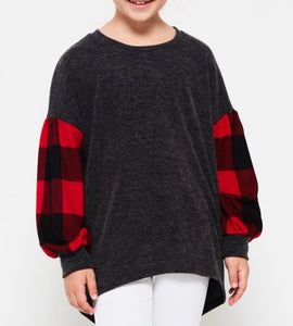 Buffalo Plaid Sleeve Sweater Top