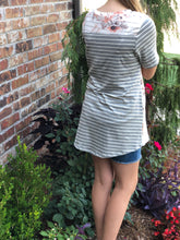 Grey Floral and Striped Top