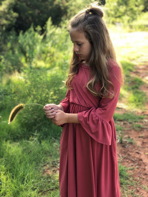 Preteen Mauve Bell Sleeve Dress.