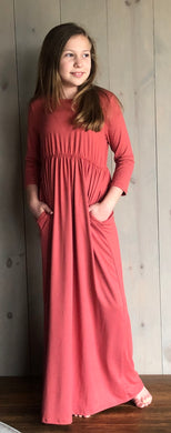 Rose Maxi Dress with 3/4 Length Sleeves