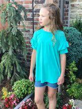Mint Ruffle Sleeve Top