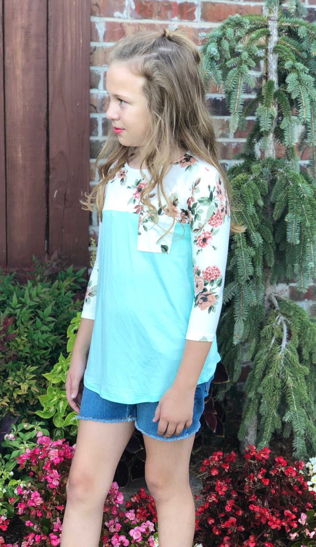 White Floral Mint Top