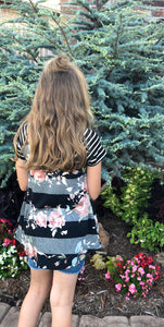 Grey and Black Stripe and Floral Top