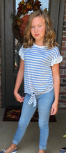 Blue and White Stripe with Ruffle Sleeve