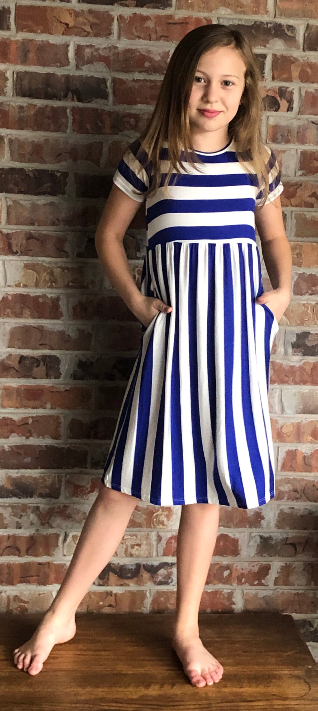 Royal Blue and White Striped Dress