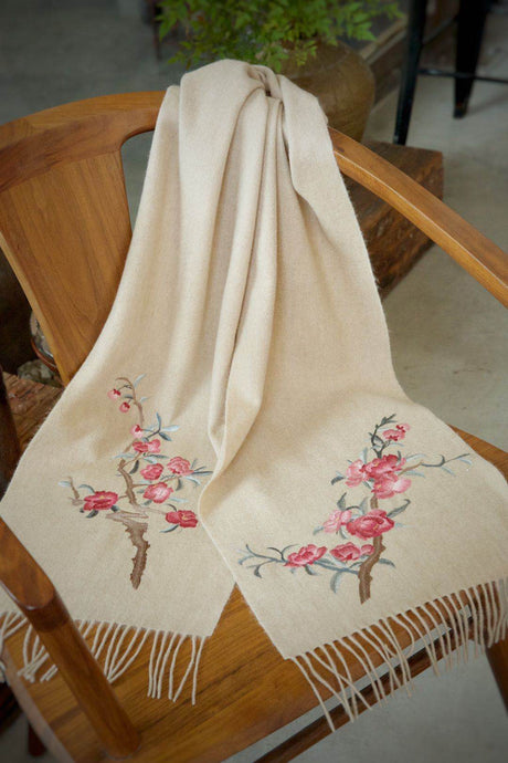 Cashmere Scarf w/ Double Side Hand Embroidery