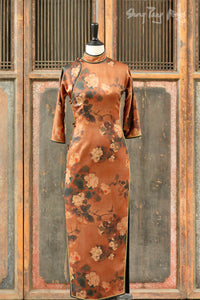 Gambiered Silk Qi Pao Dress Long (SKU: 20SS-GP1007)