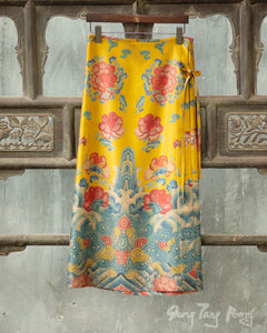 Gambiered Silk Skirt Patterned
