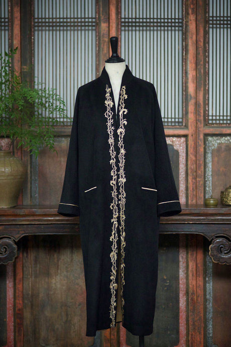Women's Cashmere Long Coat w/ Hand Embroidered Cirrus