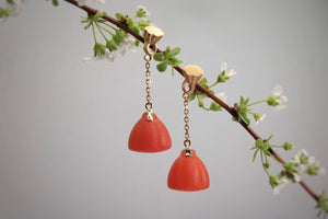 Lotus Seedpod Drop Earrings with South Red Agate