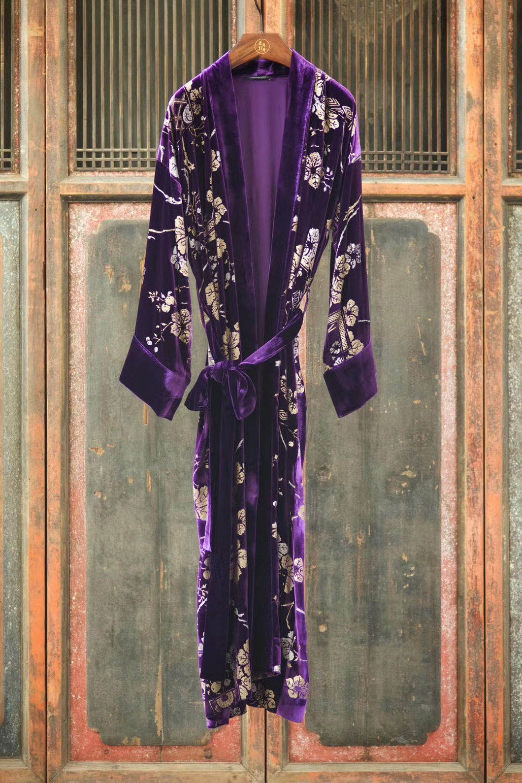 Embossed Silk Velvet Robe Long