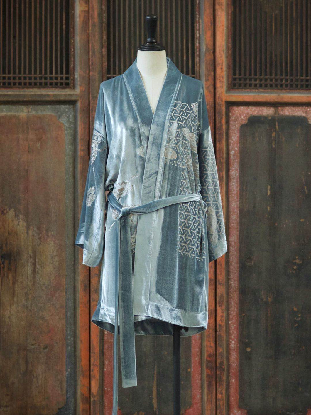 Embossed Silk Velvet Robe Mid
