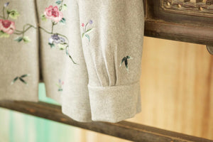 Women's Cashmere Jacket w/ Hand Embroidery Grey