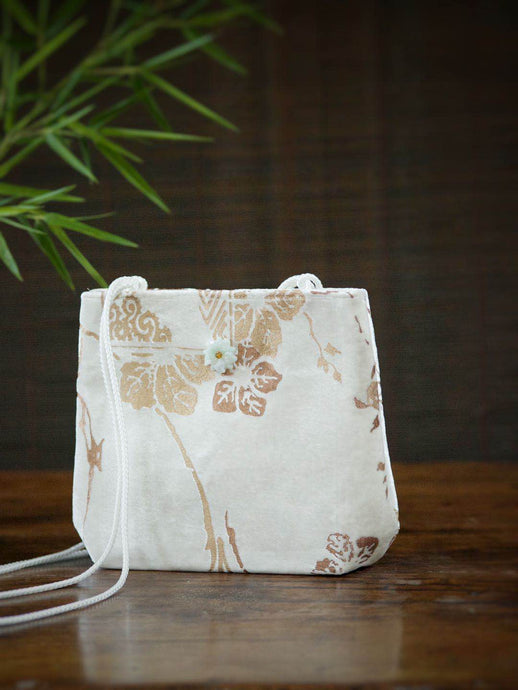 Silk Velvet Bag with Jade Flower
